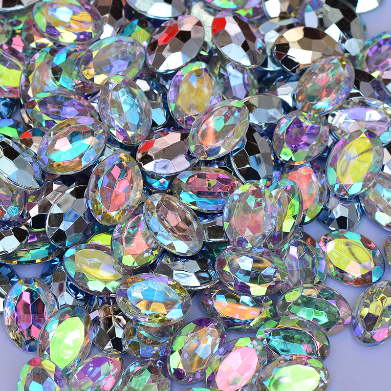 JUNAO 10 14mm Crystal AB Oval Rhinestones Applique Pointback Acrylic Stones  Glue On Strass Crystal Scrapbook Beads For Crafts -in Rhinestones from Home  ... 524aa5adf296