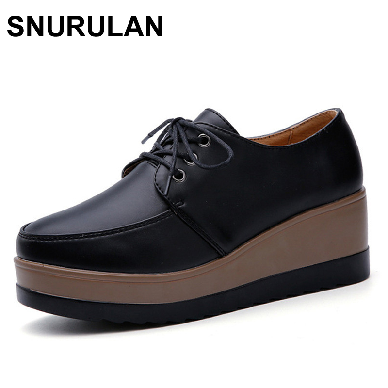 SNURULAN Genuine Leather Oxford Shoes For Women Round Toe Lace-Up Casual Shoes Spring And Autumn Flat Loafers Shoes tfsland men women genuine leather loafers students white shoes unisex spring round toe lace up breathable walking shoes sneakers