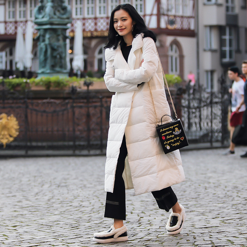 2019 Winter   Down   Jacket Women Over Knee Long Parka   Down     Coat   Jaquetas Feminino Hooded Jacket Women Winter Feather   Down   jacket
