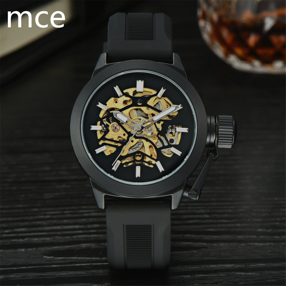 MCE Luxury Brand font b Mechanical b font Watches Men Black Silicone strap Skeleton Wristwatch Military