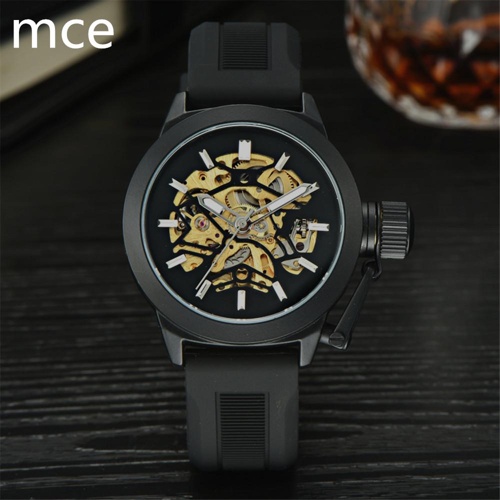 Prix pour MCE Marque De Luxe Mécanique Montres Hommes Noir bracelet En Silicone Squelette Montre-Bracelet Militaire Sport Montre Erkek kol saatleri 2016