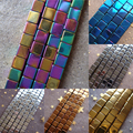 Hot wholesale 2mm 3mm 4mm Gold silver blue coppery rainbow black Hematite stone cube Loose Beads