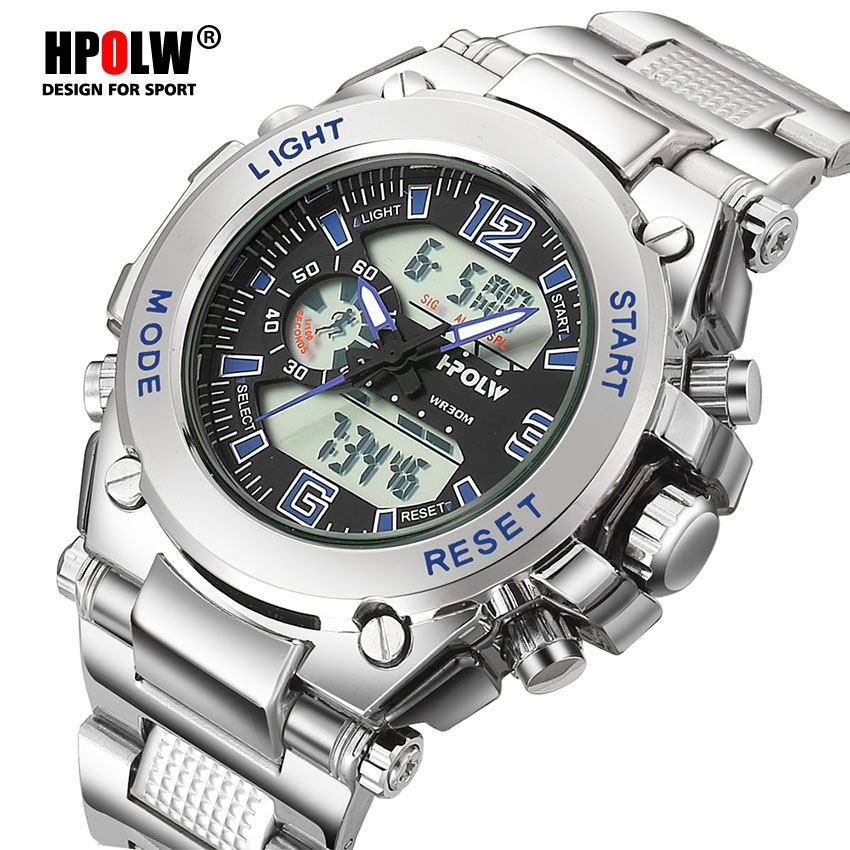 Men Electronic LED Digital Wrist Watch HPOLW Brand Military Sports Watches Waterproof Sport Shock Watch Men Relogio Masculino free shipping yarbo gy 8006 occ f occ pure copper 75 ohm digital cable hifi digital audio cable with gold plated rca plug