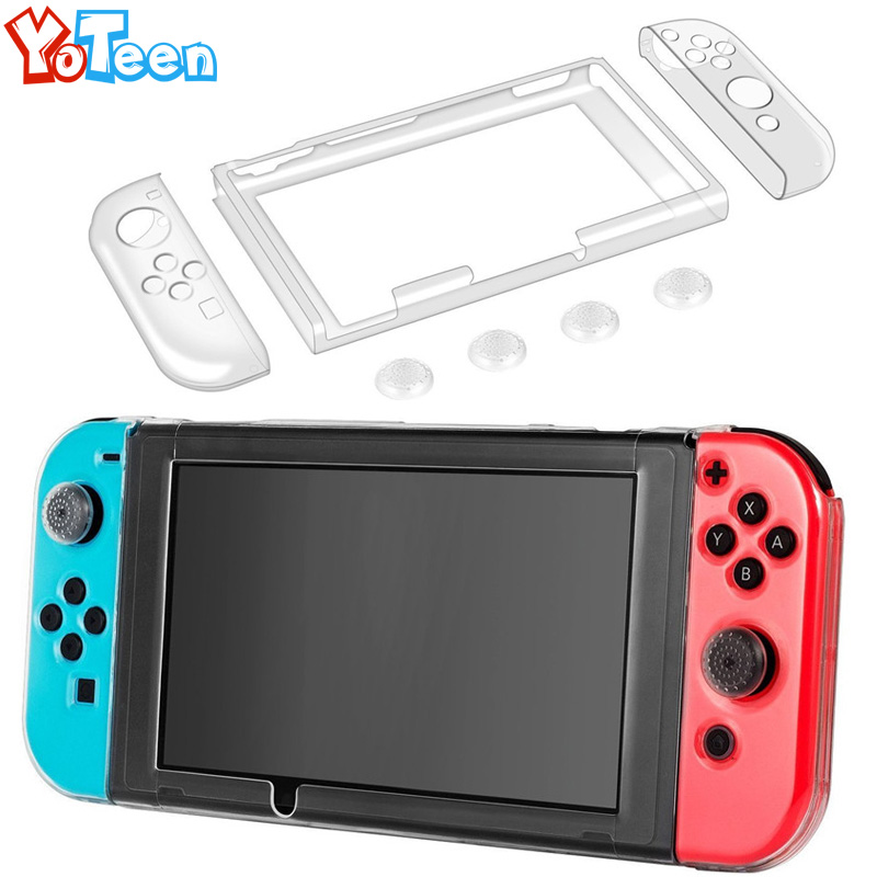 for Nintend Switch Case Hard Crystal Protective Transparent Cover Shell for Nintend NS NX Switch Console Case Cover + Thumb Caps