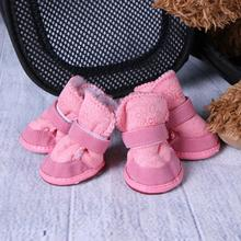 4 Pcs Thick Snow Pet Shoes Dogs Chihuahua Animal Warming Shoes Plush Winter Pets Puppy Cats Warm Boots XS/M/L/XL