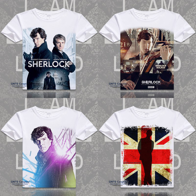 Fashion Movie Sherlock Holmes Printed O-Neck Short Sleeve   T  -  shirts   John H Watson Casual Tops Tees