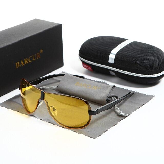 e0b6f75c5c BARCUR Mens 2019 Night Driving Sunglasses Men Yellow Lens Night Vision  Glasses Goggles Reduce Glare Brand Designer