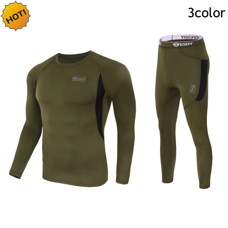 Outdoor Winter Thermal Mens Underwear Tactical Sport Fleece Warm Clothes Pullover Long Sleeve Military Quick-drying Corsets Men