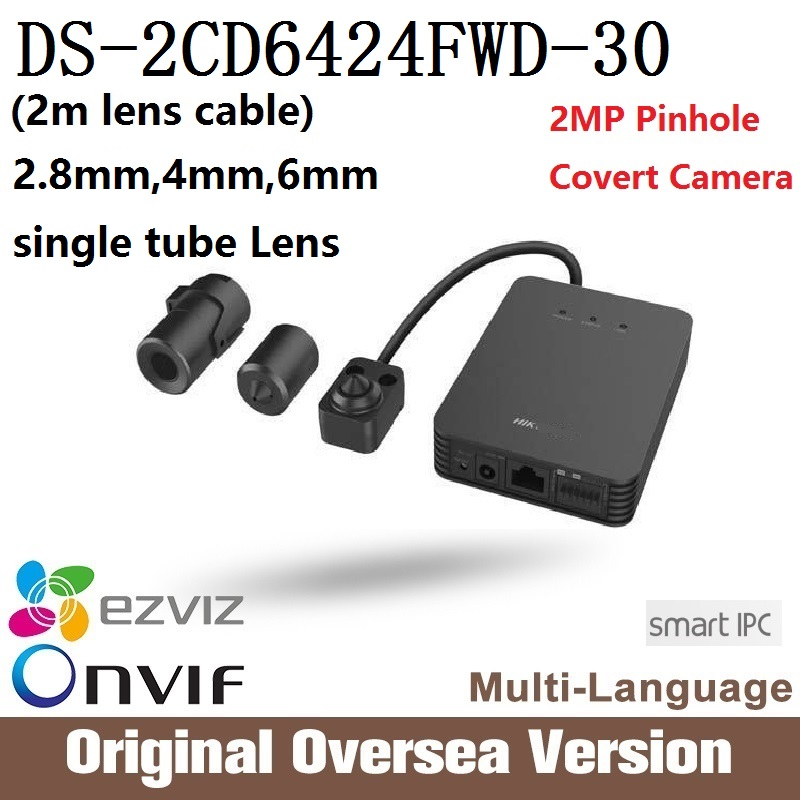 HIK Ip Camera DS-2CD6424FWD-30 (2m lens cable) 2MP Covert Camera Pinhole Camera Smart IPC 2MP Support SD Card HLC Defog uk hik multi language ds 2cd6412fwd camera ds 2cd6412fwd c2 poe pinhole covert separated network camera for shop home surveillance