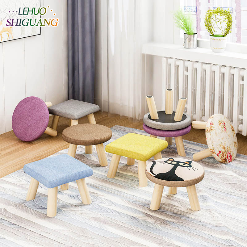 Fashion small seat stool Ottomans Wooden cloth Doorway Change shoes Small chair Living room Table side kids furniture excellent quality simple modern stools fashion fabric stool home sofa ottomans solid wood fine workmanship chair furniture