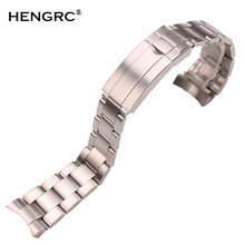 20mm 316L Stainless Steel Watchbands Bracelet Silver Brushed Metal Curved End Replacement Link Deployment Clasp Watch Strap