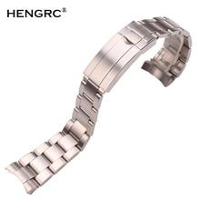 Correas de reloj de acero inoxidable de 20mm 316L, pulsera de Metal cepillado plateado, extremo curvado, repuesto de cierre de despliegue, correa de reloj