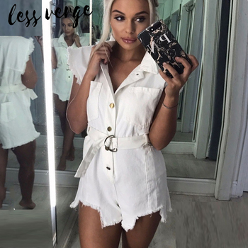 Lessverge White denim short casual jumpsuit romper Women summer sexy jeans playsuit High waist female mono flecos overalls mujer 2018 summer female sexy bodycon jumpsuit solid high waist romper casual bandage romper streetwear