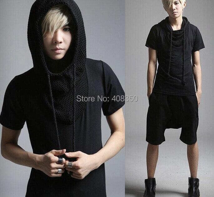 Reticularis Hooded T-shirts Men\'s Black White Brand Short Sleeve Summer Top Tees 2015 Costume Casual Masculina Camiseta Hombre (2).jpg