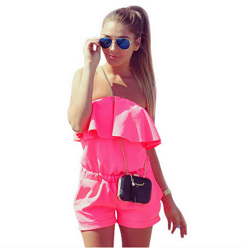 Women Rompers and Jumpsuit Sexy Strapless Fashion Solid Candy Color Summer Shorts Beach Playsuit
