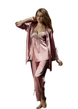 2017 Womens Sexy Pajamas Sets Shirt + Pant  + Backless Camisole 3Pcs Ladies See-through Lace Sleepwear Solid Loungewear LX80016