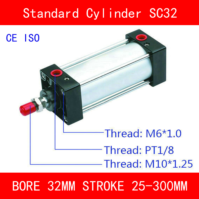 CE ISO SC32 Padrão Cilindros De Ar Válvula do Ímã 32 milímetros Strock 25 Furo para 300 milímetros Curso Único Rod Duplo ação Cilindro Pneumático