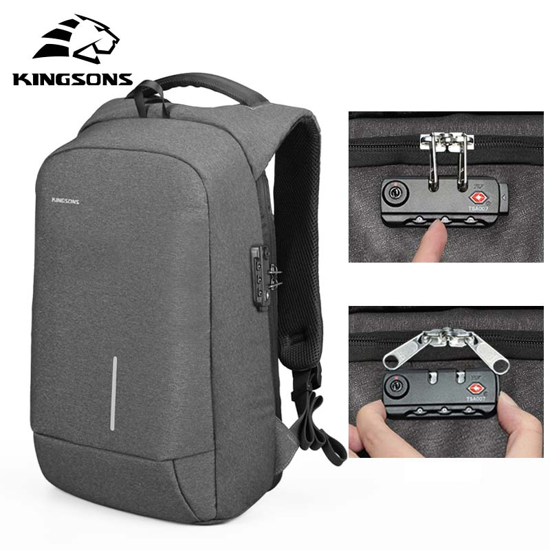 Kingsons Anti theft Backpack for Men Travel Bag Boys School Backpack 13 3 15 6 inch