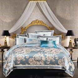 Nowy przyjazd królowej King size satynowy żakard kołdra pokrywa zestaw luksusowych pościel dla nowożeńców łóżko zestaw arkuszy poszewki na poduszki 38