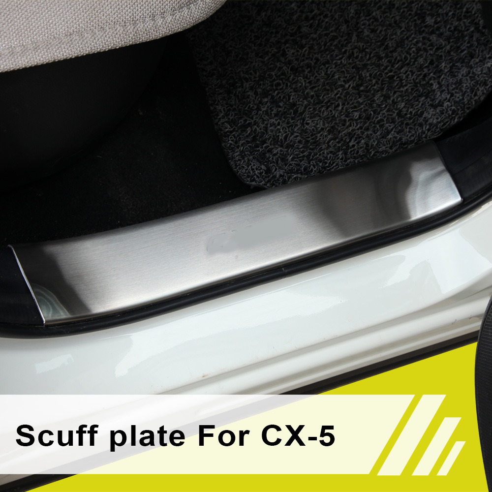 Car accessories stainless steel scuff plate inside door sill 4pcs/set for Mazda CX-5 CX5 CX 5 2012 2013 2014 2x cool custom led running door sill strip welcome pedal car accessories for mazda cx 5 2013 2014