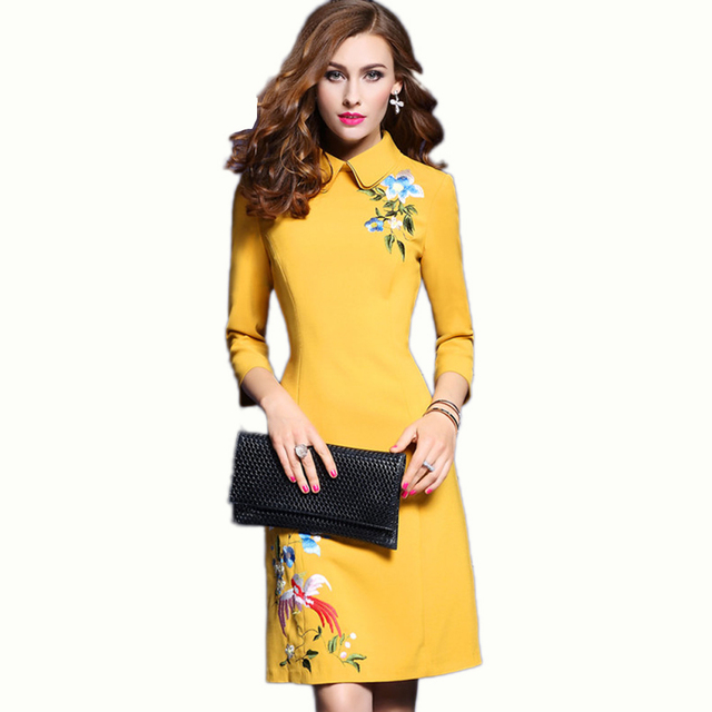 2017 Spring Womens New Fashion Doll Collar Elegant Vintage Embroidered Slim Casual Party Evening Vestidos A-Line Office OL Dress