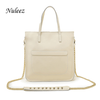 Nuleez Silver Gold Handbags White Genuine Leather Bag Chain Women Tote Work Bag Candy Crossbody Messenger