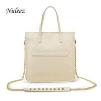 Nuleez Silver Gold Handbags White Genuine Leather Bag Chain Women Tote Work Bag Candy Crossbody Messenger