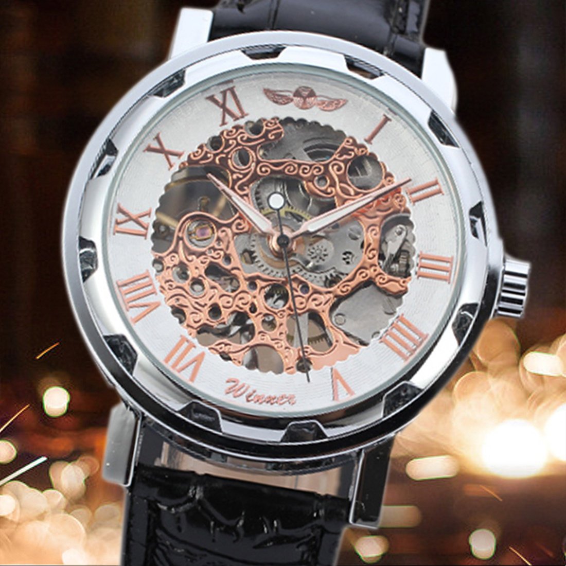 Fashion Mechanical Watch Pu Leather Automatic Mechanical Skeleton Watches Men Fashion Wrist Watch Montre Homme Hombre HorlogeFashion Mechanical Watch Pu Leather Automatic Mechanical Skeleton Watches Men Fashion Wrist Watch Montre Homme Hombre Horloge