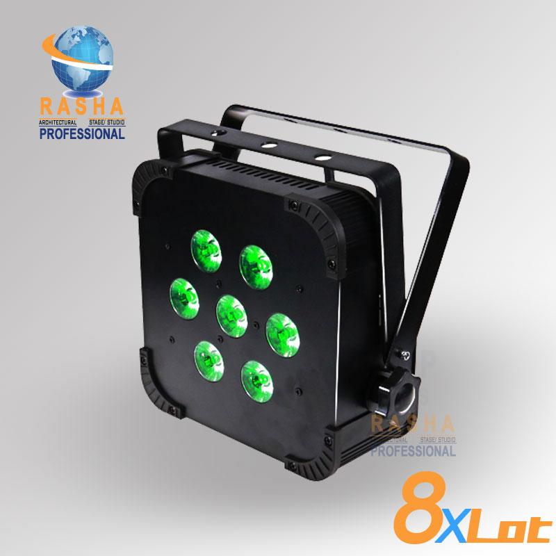 8X Rasha Hex 6in1 RGBAW+UV Built in Wireless LED Flat Par Profile,LED Flat Slim Par Can,Disco DMX512 Stage Light