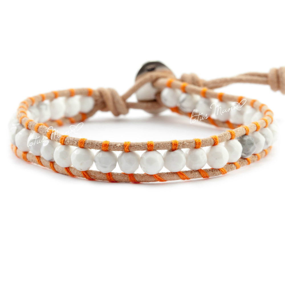 Lotus Mann White stone and natural brown crust rope tie-in lap leather cord bracelet