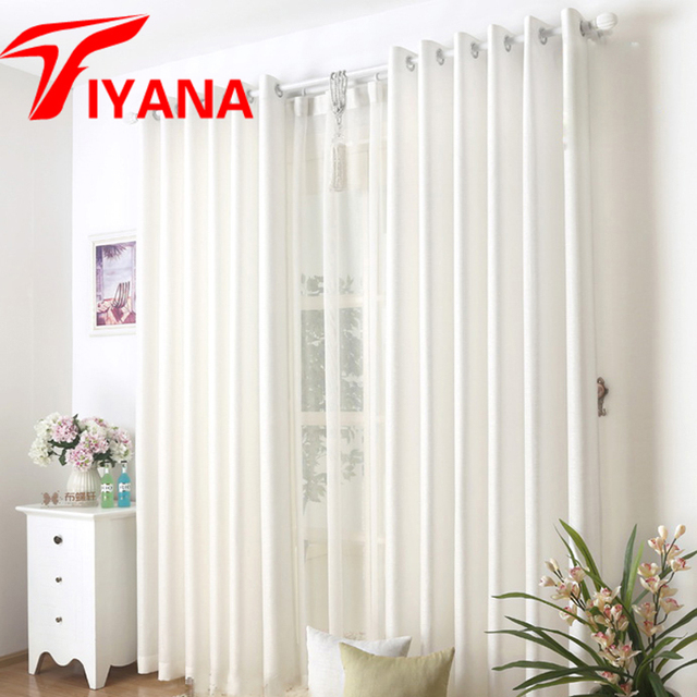 High Quality Solid Linen Curtain Blue / White Color Semi Shade Cloth Simple  Window Curtains