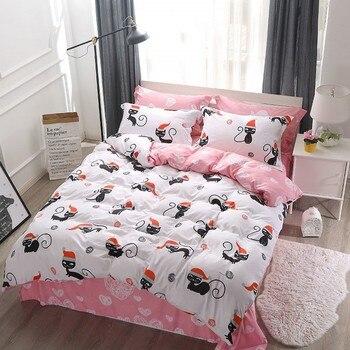 יפה שחור חתול מיטת פשתן חיות מודפס טקסטיל ורוד מגדיר פרחים בנות כיסוי מיטה שמיכה כיסוי סדין הציפית