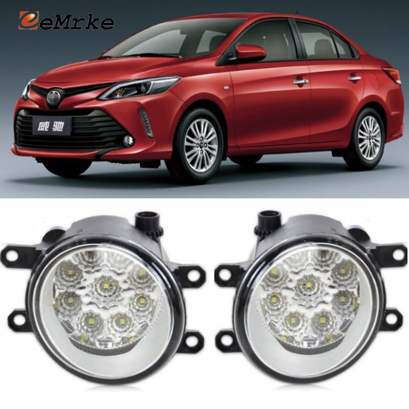 EEMRKE For Toyota Vios Yaris Sedan 2017 Car-Styling SMD 9-Pieces Led Halogen Fog Lights 12V 55W Fog Head Lamp