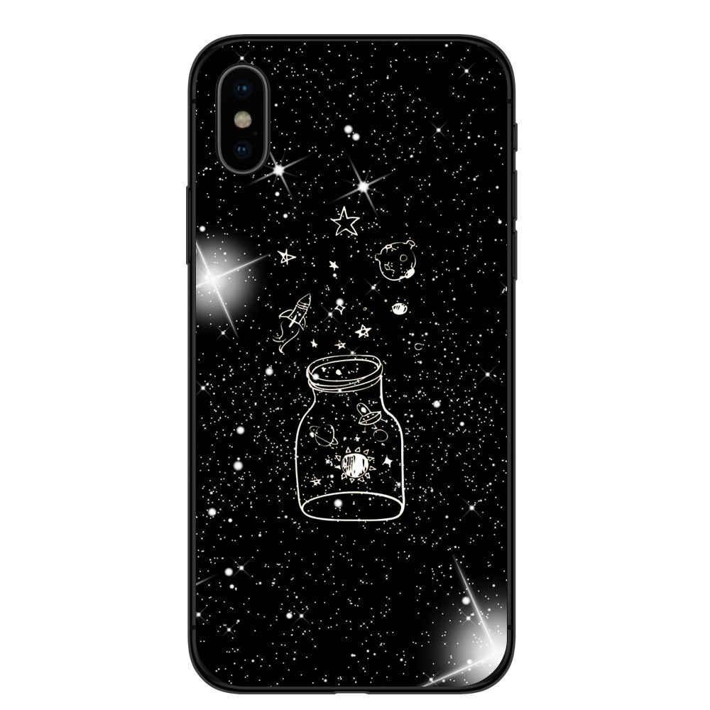 黒でホワイトムーン星宇宙飛行士柔らかいシリコーン電話カバーケース用iphone 5 5 s se 6 6 sプラス7 7プラス8 8プラス× 10