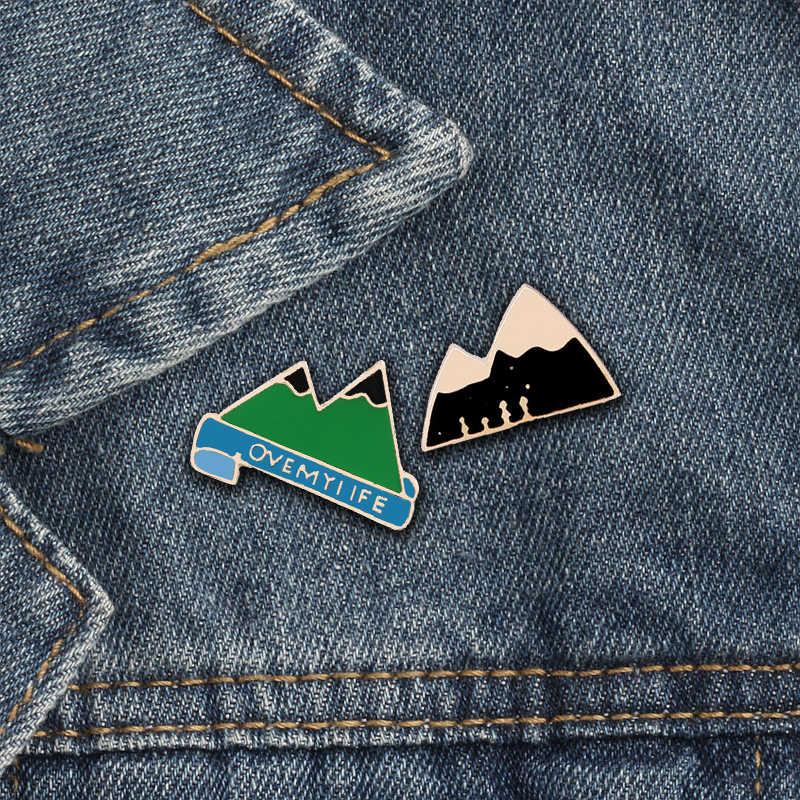 Fashion vrouwen kids groen zwart mountain icoon broches Liefhebbers Overhemd Denim Jassen revers emaille pins trui accessoires sieraden