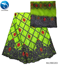 LIULANZHI african cotton bazin fabrics 2019 green fabric Bazin riche tissu embroidered for women 7yards ML39B32
