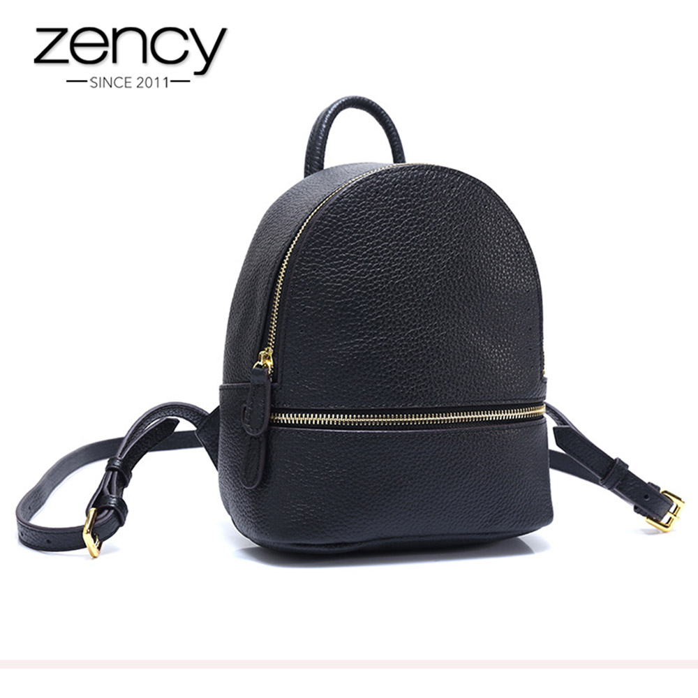 Zency Small Women Backpack 100 Genuine Leather Fashion Cute Travel Bags High Quality Girl s Schoolbag