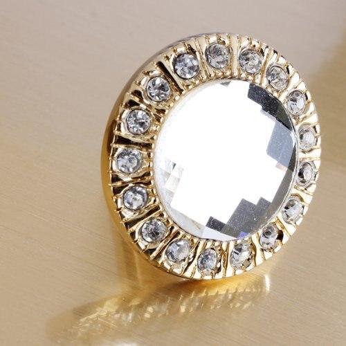 Clear Crystal Dresser Drawer Knobs Pulls Handles Gold Rhinestone Furniture  Cabinet Knob Handle Pull Bling Hardware