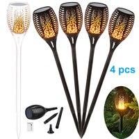 4X новый солнечный пламя мерцающий Газон лампа светодио дный светодиодный фонарь реалистичный танцы пламя свет водостойкий открытый садовы