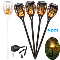 4X New Solar Flame Flickering Lawn Lamp Led Torch Light Realistic Dancing Flame Light Waterproof Outdoor Garden Decor Lamp Hot