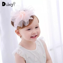 Baby Nylon Headband Little Princess Hair Accessories Solid Color Tulle Lace Flower Girl Hoop