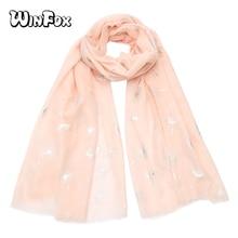 Winfox Luxury Brand Pink Grey Shiny Bronzing Silver Dandelion Soft Cotton Chiffon Scarves For Womens Female Scarf Wrap Shawl