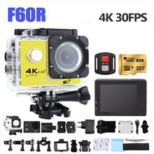 F60R 4K Action Camera Wifi 16MP Sports Video Camera 170 Wide Angel Waterproof Sports DV Bike Hemlet Car Cam Dvr+Remote Control 4k 16mp 170 degree wifi 30m waterproof full hd dv sports camera 1080p wifi sports action camera hdmi video dv camera bike