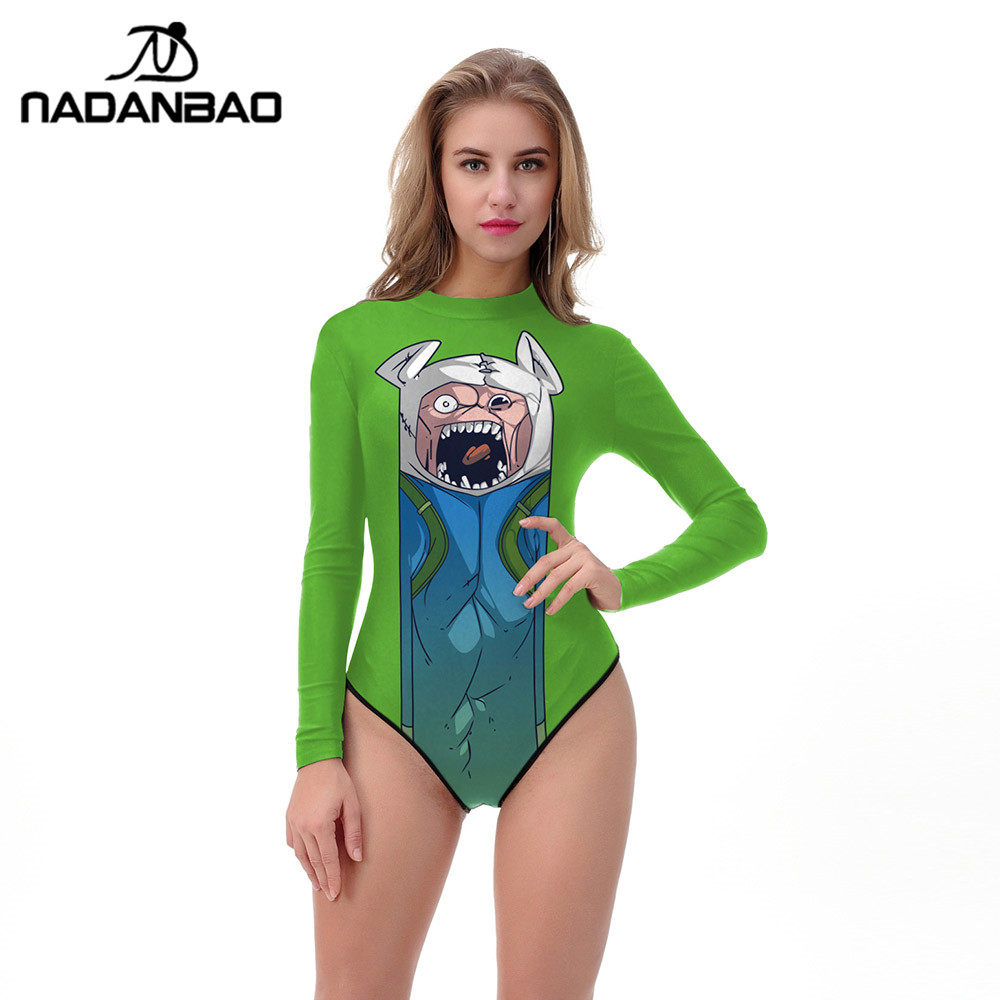 a267e5d95c NADANBAO 2018 Halloween One Piece Swimsuit 3D Printed Muscle Swimwear Women  Long Sleeve Zippered Bathing Suit Women Plus Size