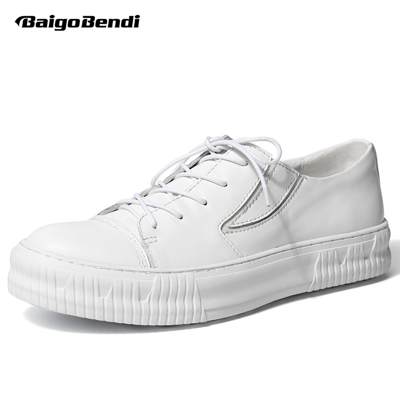 British Style Men Genuine Leather Casual Shoes Boys New Spring Lace Up Round Toe Flat Shoes