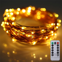 10m 100 leds copper wire aa battery operated remote control 33ft christmas wedding party decoration waterproof firefly lights - Firefly Christmas Lights