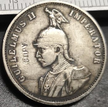 1892 German East Africa 0.5 Rupie - Wilhelm IISilver Plated Coin image