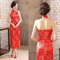 Sexy Halter Cheongsam Cheongsam Das Mulheres Aberto Para Trás Vestido Longo de Seda Cheongsam Plus Size Robe Impressão Qipao Vestido Tradicional Chinês
