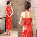 Sexy Halter Cheongsams Women Open Back Cheongsam Dress Long Silk Cheongsams Plus Size Robe Chinese Traditional Dress Print Qipao