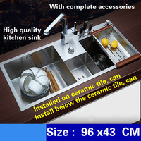 Free Shipping Deluxe Kitchen Sink Manual Double Channel 4mm Thick Food Grade Stainless Steel Water Discharge